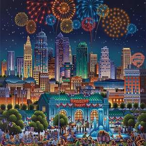 JMINE Div 5D Kansas City Fireworks Full Diamond Painting cross stitch kits art High Quality Scenic 3D paint by diamonds 0922