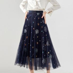 N72fU printemps Shenzhen Nanyou 2020 robe WWAp3 et l'été nouvelle taille haute de gaze élastique Nanyou femmes casual Shenzhen jupe des femmes de d