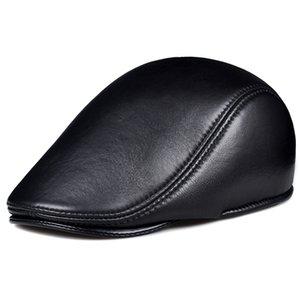 Spring Winter Unisex Genuine Leather Beret Hats Men Women Black Peaked Cap Male Thin Boina Casual Trucker Caps Bonnet