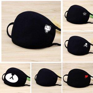 Designer maschera nera maschera cotone PM2.5 moda faccia alla polvere maschera protettiva cuore traspirante cranio sesso