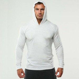 Marka Koşu Kapşonlu T gömlek erkekler Gym Giyim Katı Uzun Kollu İnce Pamuk Tee Gömlek Vücut Geliştirme ve Fitness Sportwear Tshirt