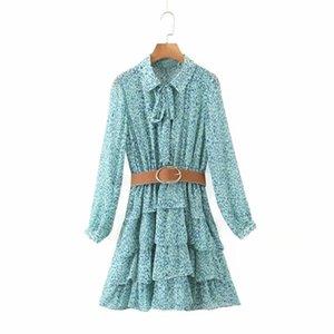 New Women leopard print cascading ruffles sashes cake Dress Female long sleeve chiffon Vestidos Casual slim brand Dresses DS3726 0922