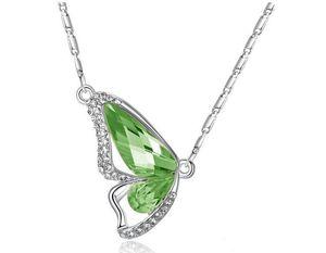 Бабочка Женщины родий бабочки ПК Dancing 12 ожерелье ювелирных изделий Имитация Для подвески Moq моды пластинчатых кристаллов BUfBS