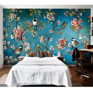 Wallpaper Stereo Foto 3D Wallpaper cinese Fiori Uccelli murale da letto Soggiorno Nuovo Disegno di struttura della Carta De Parede floreale 3D