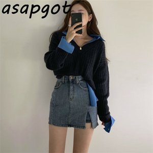 Wild Lazy V-neck Back Lace Up Pullover Sweater Spring Korean Chic Retro Full Black Loose Sweater Women Top with Shirts Casual 0925