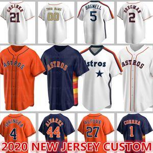 Personalizados Astros Jerseys 27 Jose Altuve Baseball 5 Jeff Bagwell Craig Biggio Alex Bregman Justin Verlander Carlos Correa George Springer Jerse