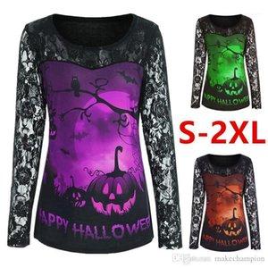 Tops Casual Weibliche Kleidung Halloween Damen Designer-T-Shirts gedruckt Langarm Panelled Frauen