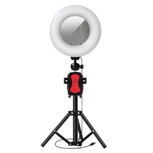 22Cm Ring Light Photography LED Selfie Lighting & Mirror with Height 105Cm Tripod for Makeup Video Live Stream