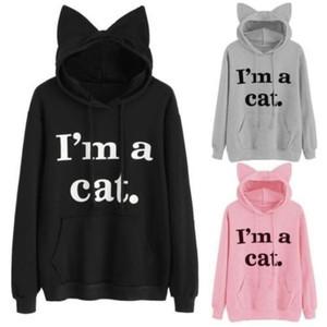 Womens Cat Long Sleeve Hoodie Sweatshirt Hooded Pullover Tops Blouse Christmas