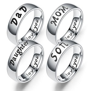 Stainless Steel famaliy member Rings letter LOVE MOM SON DAUGHTER Rings gift Jewelry for Women Men hip hop jewelry drop ship