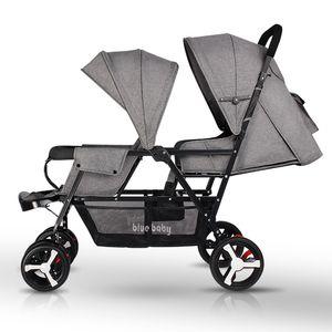 Doppia Passeggino pieghevole passeggino doppio può sedere Sdraiato leggero Neonato carrozzina portatile Bambini Mutiple Travel System