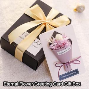 Regalo Cartolina del partito il giorno di carta della madre favori Fiore secco Biglietto di auguri con il contenitore di regalo Bouquet Saluto Inviti di nozze