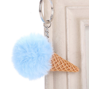 Cut Fur Ball Ice Cream Cone Keychain Furry Acrylic Key Chain Ring Keyring Pompom Shoulder Bags Pendant Children's Gifts 6c1228