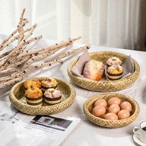 Criatividade Household Bamboo Weaving Frutas Verifique coração Disk Package Tray Hotel Mesa Redonda Melon Semente Estilo Japonês Vapor KYXq #
