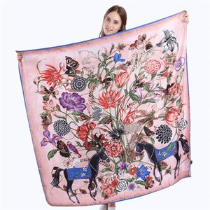 130cm 100% x Twill Silk Scarf Women Spain Floral Horse Square Scarves & Wraps Office Lady Neckerchief Female Fashion Accessories
