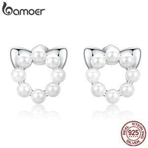 bamoer Pet Aşk Kedi İnci saplama Küpe Kadın Eleagnt Shell İnciler Takı Düğün 925 Gümüş Bijoux Brincos SCE688