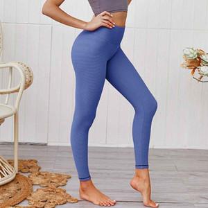 Femmes Striped Impression Cadrage en pied Workout Gym Push Up Nylon Fitness Sports Pantalon yoga élastique taille haute Absorbant Sweat quotidien