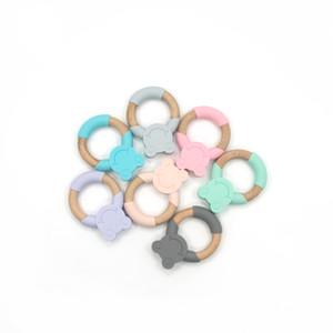 Alta Qualidade BPA Food Baby Toy Grade Silicone Teether anel grosso Acessórios animal Fda Sapo Silício madeira dentição