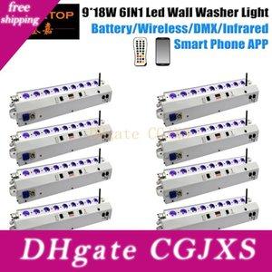 Freeshipping Paquete de 8 9x18w Smart DJ largo arandela de la pared del IOS, Android Operate batería inalámbrica Uplighting luz de la boda de Navidad
