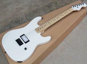 Factory Wholesale White Chav Electric Guitar with One Pickup,Maple Fingerboard,Black Hardware,Can be customized as request