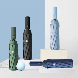 3 plegable automática de negocios paraguas de la lluvia Pongee Colores sólidos Retro caballero paraguas parasol regalo a prueba de viento fuerte personalizada VT1439