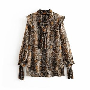QNPQYX Frauen Schlangenhaut drucken beiläufige Kittel Bluse Shirts Frauen beugen lange Hülse chic blusas Tiermuster Rüschen femininas Tops