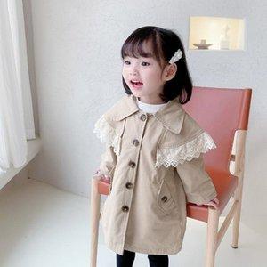 DFXD Yeni Hendek Coats için 1-7Yrs Kızlar 2020 Çocuk Giyim Bütün Kol Katı Dantel Patchwork Düğme Pamuk WINDBREAKER Ceketler Güz