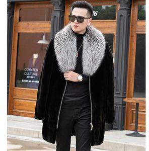 Autumn fur leather jacket mens warm faux mink fur leather coat men loose jackets winter thicken jaqueta de couro big fur collar bai171