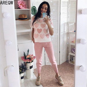 2 Piece Sets Womens Knit Outfits Love Heart Short Sleeve O-neck Tops+ Lace Up Waist Ankle Harem Pants 2020 New X0923