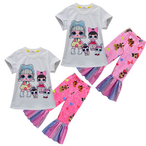 designer Children's suit cartoon doll print girl Clothing Sets short sleeve ninth pants Children's pajamas zx001