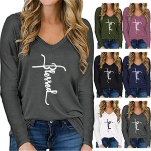 Clothing Designer Spring New Female Loose Tshirts Women Letter T-shirts Fashion Occident Trend V Neck Long Sleeve Casual Tops