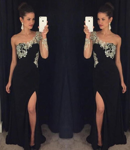 Charming One Shoulder See Through Design Evening Dress Sexy Side Split Long Prom Gown Vestidos De Festa Custom Made
