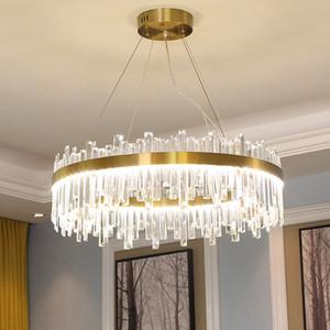 Round cristal moderne luxe d'éclairage Lustre lustres conduit Lampe suspension dinning salon salle lampe LED d'or Éclairage / Chrome