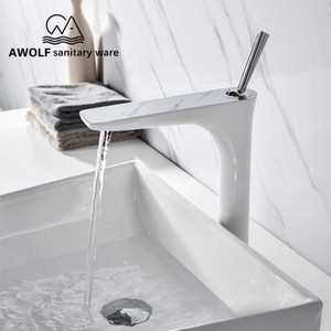 Bathroom Sink Faucet Solid Brass Chrome Polishing White Luxury High Basin Faucet Hot Cold Mixer Water Tap Deck Mounted ML8086