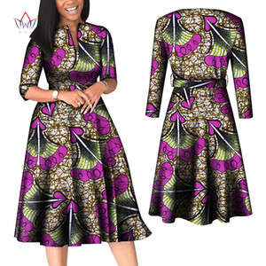 BintaRealWax African Dresses for Women Long Sleeve Patchwork Office Dresses Riche Cotton Africa Lady Print Party Clothing WY7886