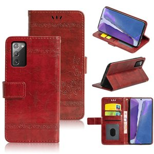 Flip Case For Samsung Galaxy Note 20 Phone Case Embossed Flower Wallet Oil Wax Leather Case