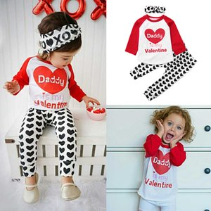 Toddler Baby Kids Girls Valentine Letter Tops Pants Headbands Outfits Clothes vetement enfant fille girls clothes X0923
