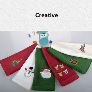 18PCS 장식 럭셔리 핸드 타올 산타 클로스 크리스마스 수건 선물 놓은 눈사람 산타 클로스 목욕 주방 타월