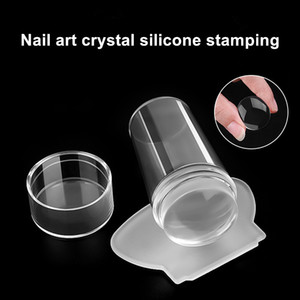 Nail Art Templates 1 Set Stamping Template Tool Stamper Scraper With Cap Transparent Silicone Stamp Tools