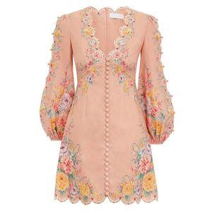 La primavera y el verano de 2020 nuevo diseño de lujo de Australia nicho de temperamento de hadas elegante con cuello en V vestido súper Hada