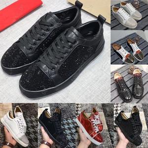2020 venta caliente de los zapatos inferior rojo escotado Spikes pisos en mujeres de los hombres de cuero de las zapatillas de deporte casuales con la bolsa para polvo