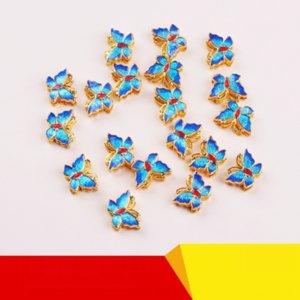 w8k3v cloisonnée Brûler Papillon bleu populaire straight-through exquis tout match perles DLY cloisonnée Brûler Papillon bleu droite Thr