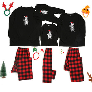 2020 New Family Parent-child Clothes European And American Round Neck Christmas Embroidered Bear Cub Long Sleeve Pajama Set
