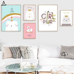 Canvas bambino del fumetto Poster Stampe Nidi ragazze potenti Quote Dipinti degli animali di arte della parete dei bambini Immagini per Bambini Decor