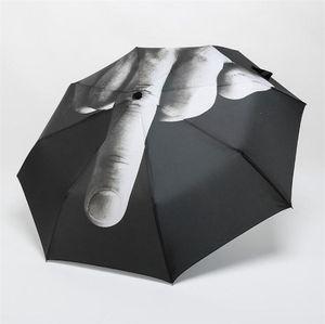 Master Creative Design Средний Палец Зонт дождь ветрозащитный Up Yours Umbrella Творческий складной зонт моды Impact черный зонтик 10piec