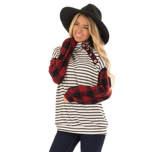 Women Striped Plaid Panelled Tshirt Turtle Neck Long Sleeve Button Tees Famale Autumn Clothes
