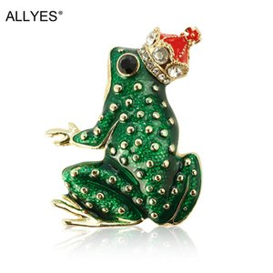 ALLYES Red Crown Prince of Frog Brooch Jewelry Gold Alloy Crystal Clothes Suit Green Enamel Pin Large Animal Brooches For Women