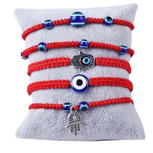6 Styles Handweb Armband Glück Armband Red-Schnur-Gewinde-Armbänder Blaues schlechter Augen-Charme Schmuck Fatima Freundschaft für Frauen