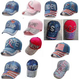 Trump алмазы Бейсболка Байден 2020 Президент США выборов крышка ковбой шипованных джинсовые регулируемые шлют открытые моды фуражки FFA4368
