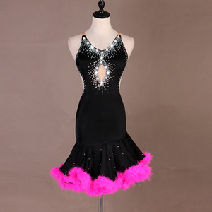 Shiny Latin Dance Dress For Women Sexy Backless Club Party Dancer Singer Entertainer Feather Swing Black Dresses 2020 Top Sale